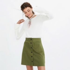 NWOT MADEWELL khaki button up skirt with pockets